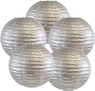 Just Artifacts 16-Inch Silver Chinese Japanese Paper Lanterns (Set of 5, Silver)