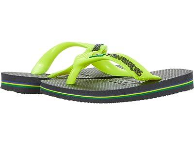 Havaianas Kids Brazil Logo Flip Flops (Toddler/Little Kid/Big Kid) (New Graphite) Boys Shoes