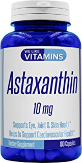 Astaxanthin 10mg - 180 Capsules - (Non GMO & Gluten Free) Astaxanthin Supplement 6 Month Supply Antioxidant Helps Support Exercise Recovery, Eye, Joint, Skin Health