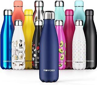 Proworks Botella de Agua Deportiva de Acero Inoxidable   Cantimplora Termo con Doble Aislamiento para 12 Horas de Bebida Caliente y 24 Horas de Bebida Fría - Libre BPA - 350ml / 500ml / 750ml / 1L