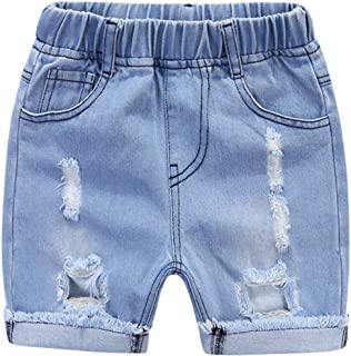 MMWORM Baby Boys Denim Shorts Ripped Jeans Short Pants Elastic Waist Shorts