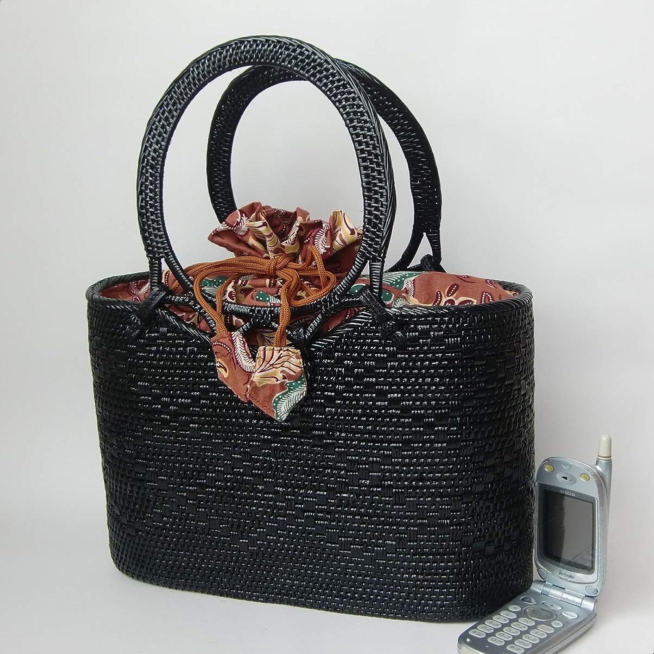 野菜ワードローブ植物学者バリ島製アタバッグ 可愛い持ち手のかごバッグ ブラック