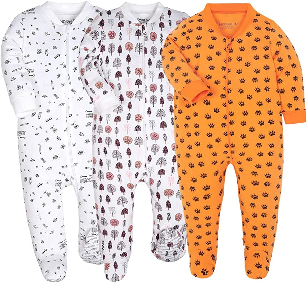 Baby Footed Pajamas Cotton High order Loose Long Toddler Outlet sale feature Fit Onesies Sleeve