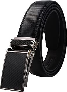 men's Ratchet Comfort Click Slide Leather Dress Belt with Aumatic Buckle,Trim to Fit