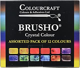 Brusho by Colourcraft BRU85000 Crystal Colour Assorted Pack of 12 Colours