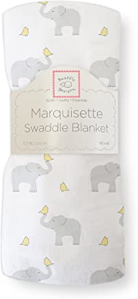 SwaddleDesigns Marquisette Swaddling Blanket,  Premium Cotton Muslin,  Elephant and Pastel Yellow Chickies