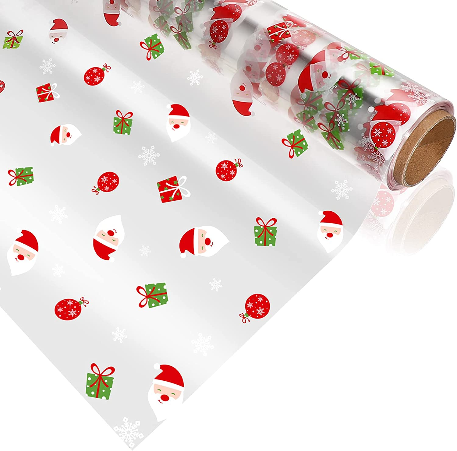 NUOBESTY Max 88% OFF Santa Claus Cellophane Max 84% OFF Wrap Clear Christmas Roll Cello