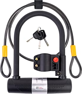 Bike U Lock with Cable - 16mm Heavy Duty Bike Lock with Key and Mount - A Must have Anti-Theft Bike Accessory for High Security - 4ft Braided Steel Flex Cable -Reliable All Weatherproof Bicycle U Lock