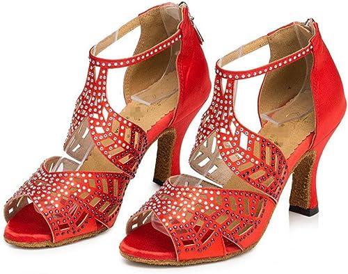 Byjia schuhe De Baile Salsa De damenes Tango Latino Salón De Baile De Tacón Alto Suave Fondo De Piel De Diamante Suede Strap Ankle Classical Sandals rot