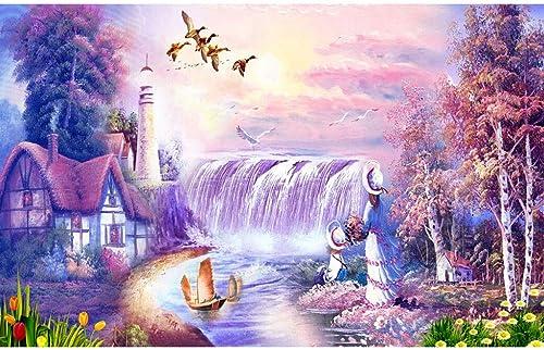 Puzzle House- Fantasy of lila World, einzigartiger Schnitt & perfektes Splice-Holzpuzzle, Herausforderung 500 1000 1500 Stück Box Malerei Kunst Spiel für Erwachsene -408 (Größe   1500pc)