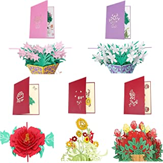Frienda 5 Pieces 3D Greeting Cards Pop up Card with Envelope for Christmas Valentine Birthday Anniversary Wedding