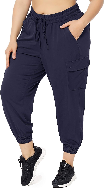 ZERDOCEAN Women's Plus Size Casual Lounge Cargo Pants Hiking Workout Pants Active Wear Loungewear with Pockets Drawstring