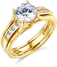 TWJC 14k Yellow OR White Gold Solid Engagement Ring & Wedding Band Set