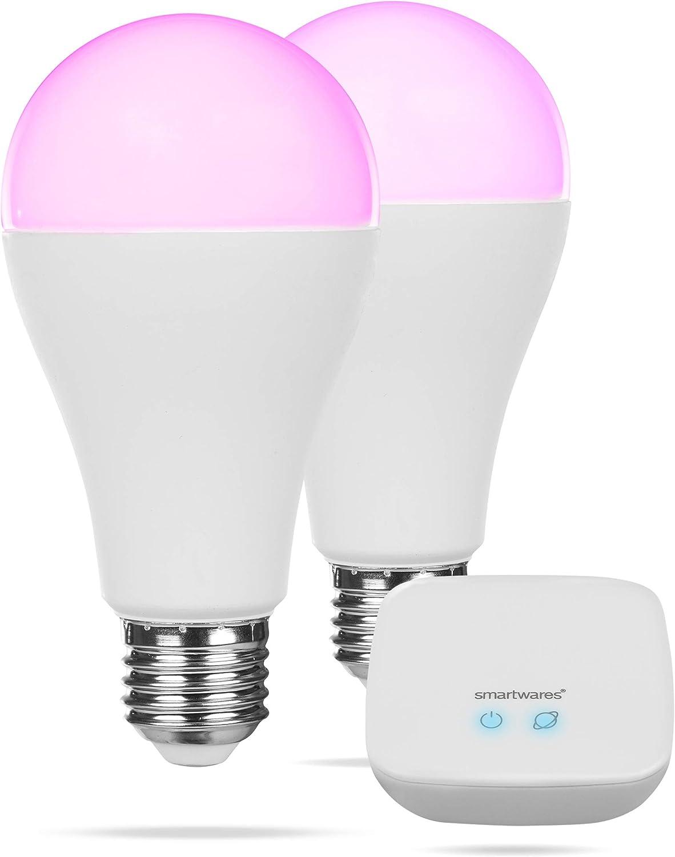 Smartwares Smart Home Pro  Farb-Leuchtmittel Set inklusive Basistation, steuerbar via gratis HomeWizard Link App  Alexa kompatibel