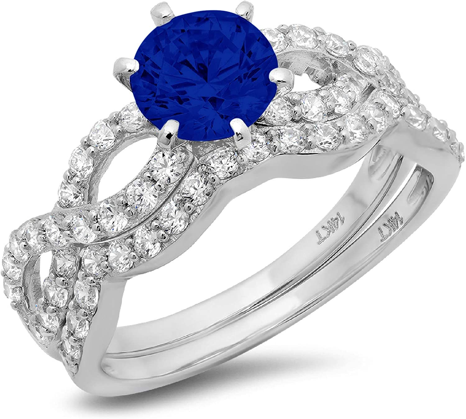 1.49ct Round Cut Halo Pave Solitaire Split Shank Accent Ideal Flawless Simulated CZ Blue Sapphire Engagement Promise Designer Anniversary Wedding Bridal ring band set Curved 14k White Gold