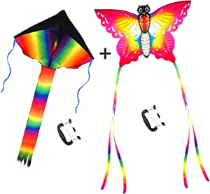 SINGARE Large Rainbow Delta and Butterfly Kites 2 Pack Easy Flyer Kites with Long Colorful Tail for Kids Adults Outdoor Game, Activities, Beach Trip, Great Gift to Kids Childhood Precious Memories