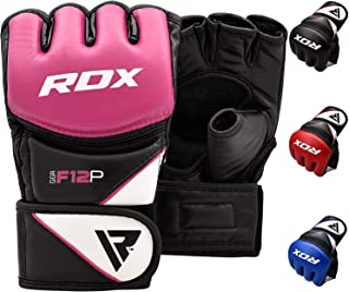 RDX MMA Gloves for Grappling Martial Arts Training | D. Cut Palm Maya Hide Leather..