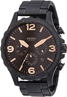 Fossil Nate Men's Amber Dial Stainless Steel Band Chronograph Watch - Jr1356, Analog Display