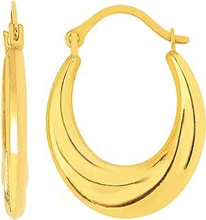 14K Yellow Gold Horseshoe Swirl Hoop Earrings (15 x 20 mm)