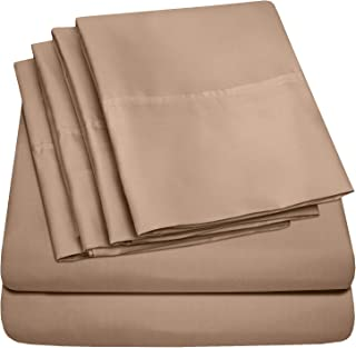 King Size Bed Sheets - 6 Piece 1500 Thread Count Fine Brushed Microfiber Deep Pocket King Sheet Set Bedding - 2 Extra Pillow Cases, Great Value, King, Taupe