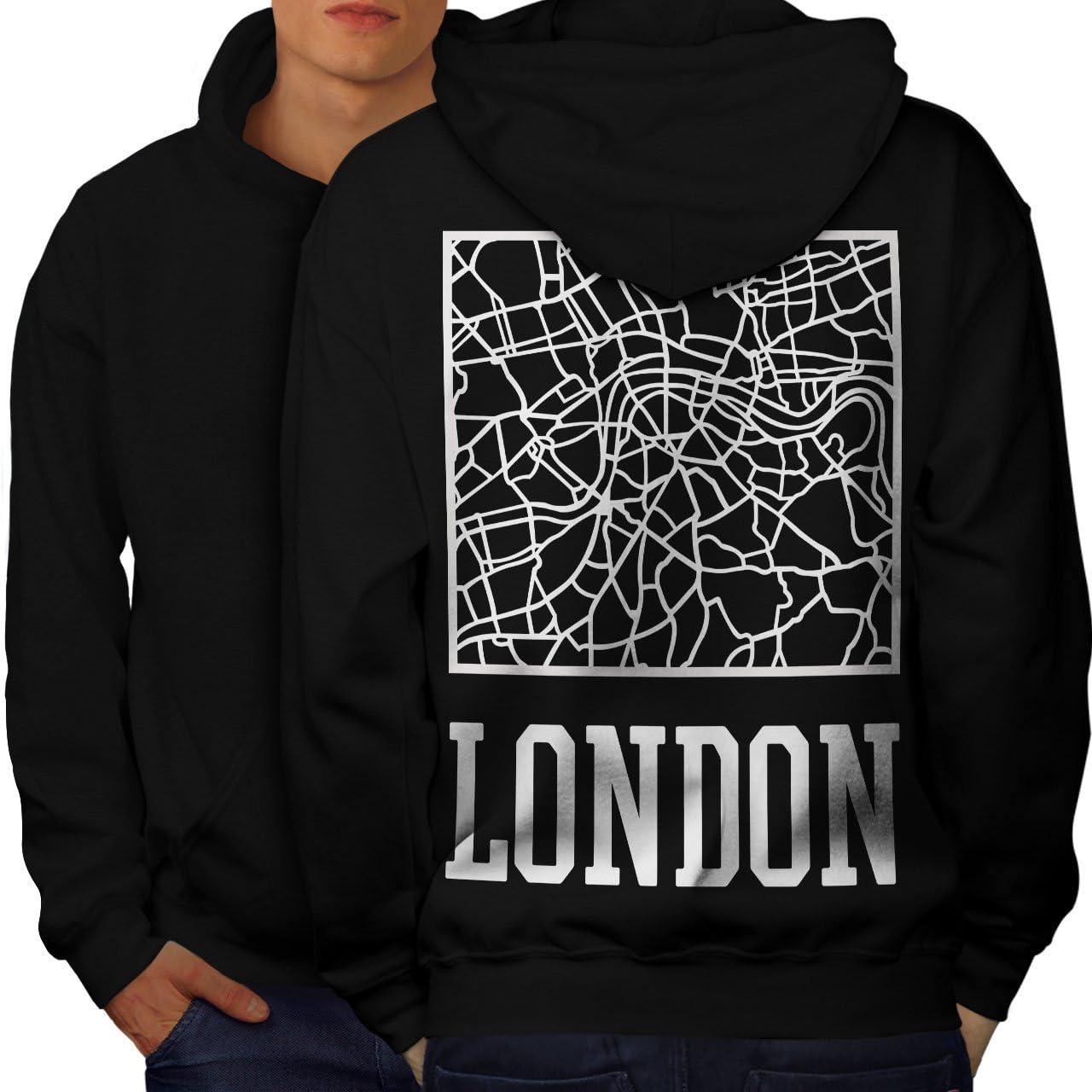 wellcoda 大決算セール London City 『1年保証』 Map Fashion Mens Printed Town Hoodie on Th