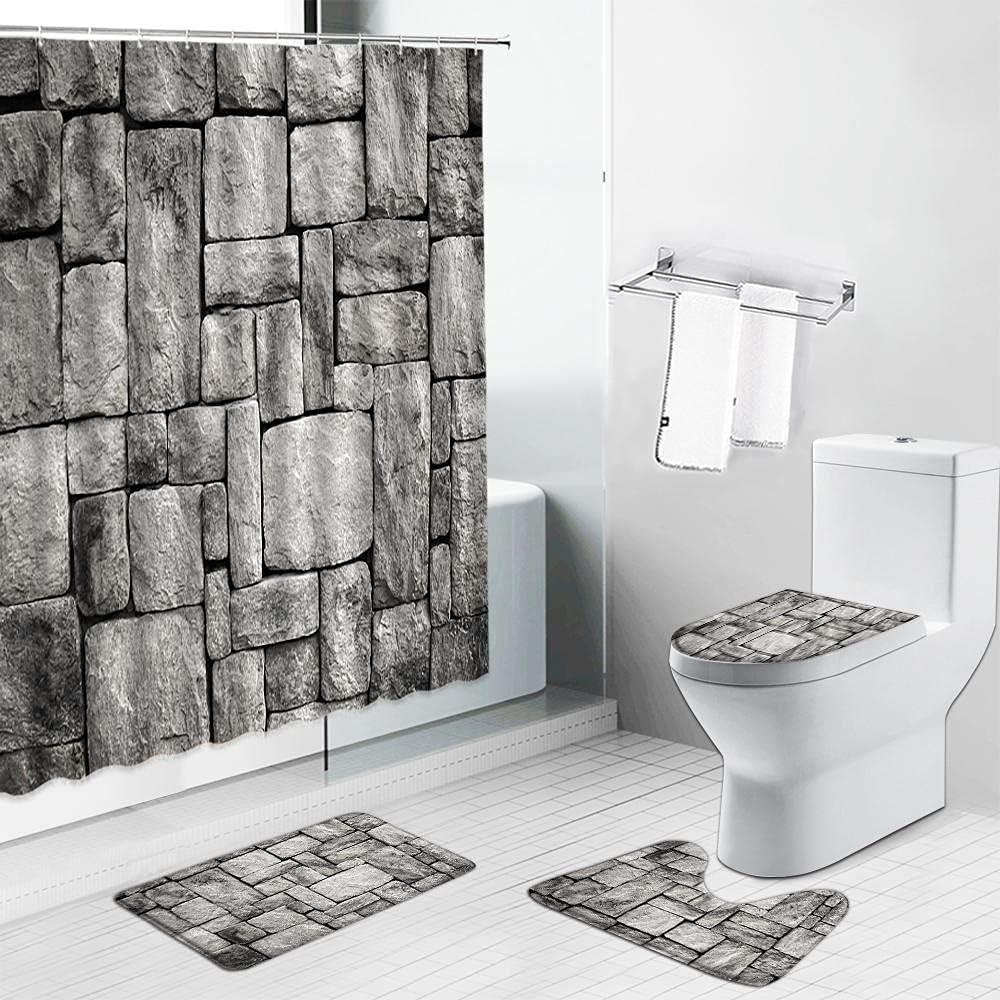 ALPNXZ 4 Piece Shower Curtain Set W and Marble Black Elegant White Austin Mall Stone