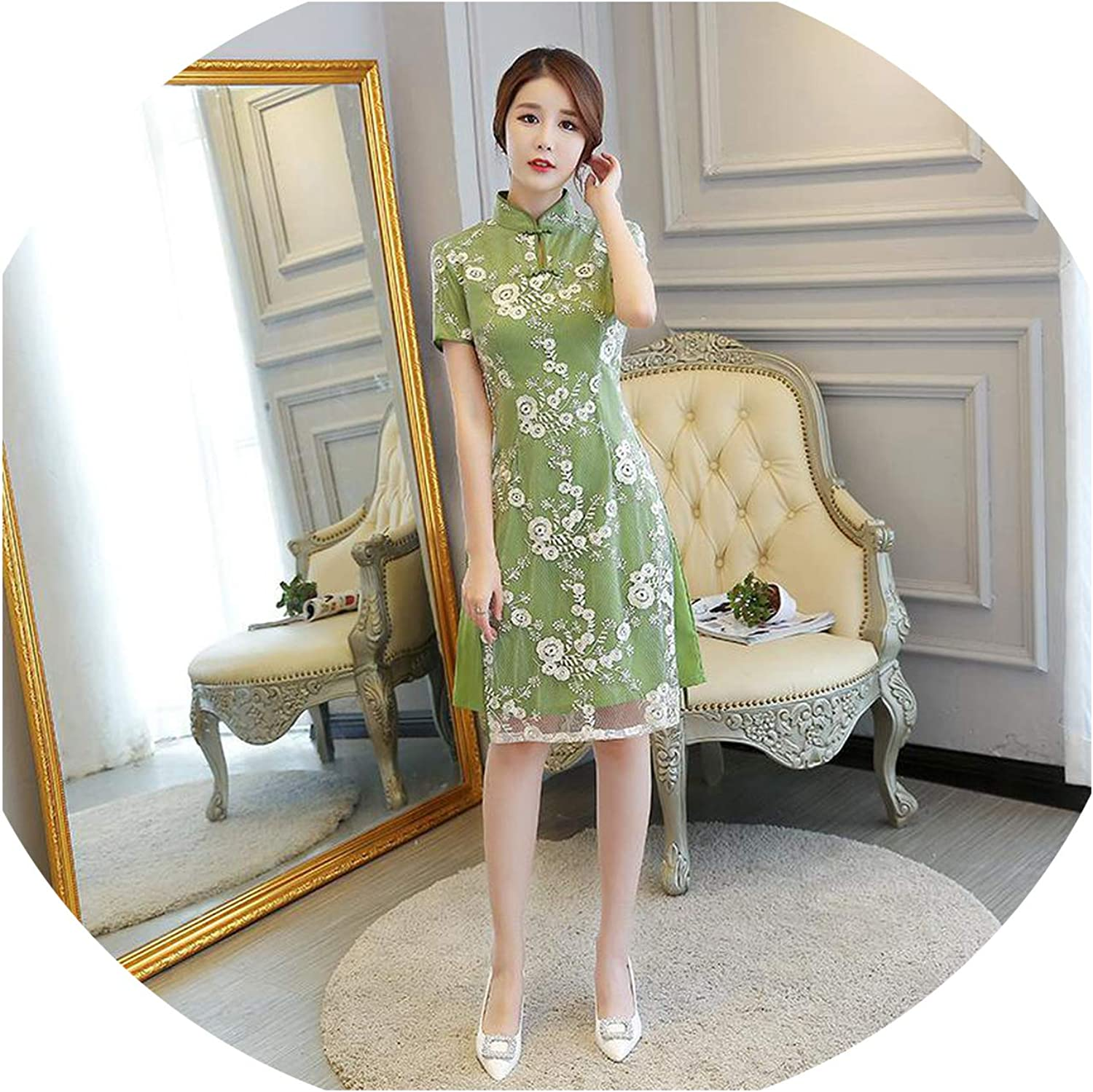 colorfulspace Vintage Improved Flower Qipao Oriental Evening Party Dress Women Mandarin Collar Cheongsam Vestidos M3xl