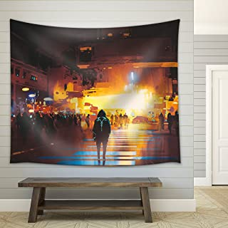 wall26 - Man Standing on Street Looking at Futuristic City at Night, Sci-Fi Concept, Illustration Painting - Fabric Wall Tapestry Home Decor - 68x80 inches