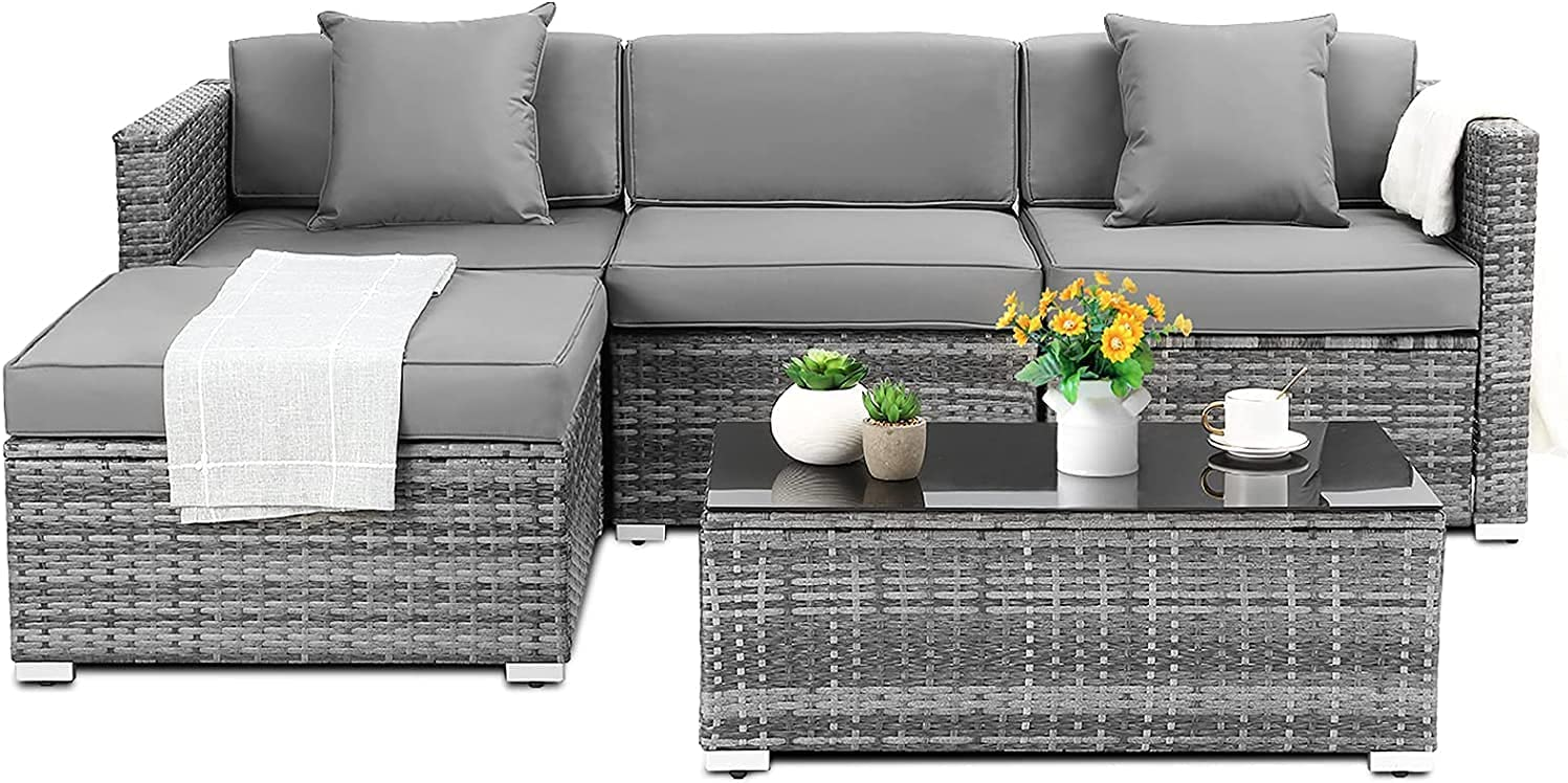 5 Piece Rattan Patio Furniture Sets Outdoor Garden Sofa Set, with Cushions and Pillows, Patio Conversation Set with Glass Coffee Table for Backyard, Lawn, Patio, Porch,Terrace
