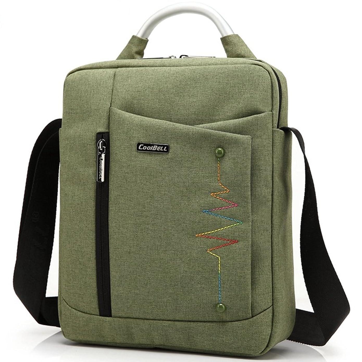 深さ急流良心PCバッグ ビジネスバッグ メンズ ブリーフケース トートバッグ 8インチ~15.6インチPC パソコン ケース ショルダーバッグ 人気 コンピューター ブリーフケース 通学 通勤  A4サイズ 高校生 学生 縦型 12.1インチ 緑 グリーン