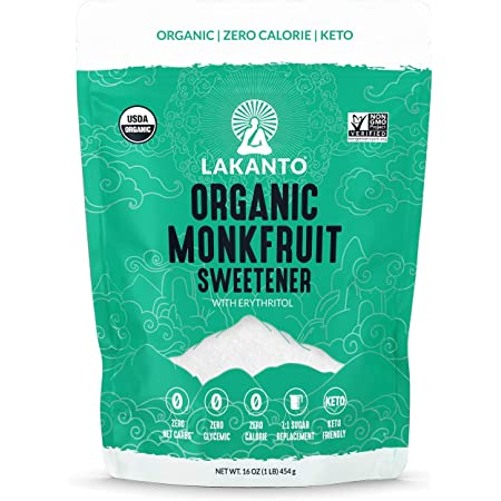 Lakanto Organic Monkfruit Sweetener - 1:1 White Sugar Substitute, Zero Calorie, Keto Diet Friendly, Zero Net Carbs, Zero Glycemic, Baking, Extract, Sugar Replacement (Organic Classic White - 1 lb)