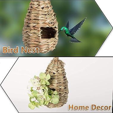 AQUEENLY Hummingbird House Set of 3 Hand Woven Hummingbird Houses Nest Small Hanging Audubon Birdhouse