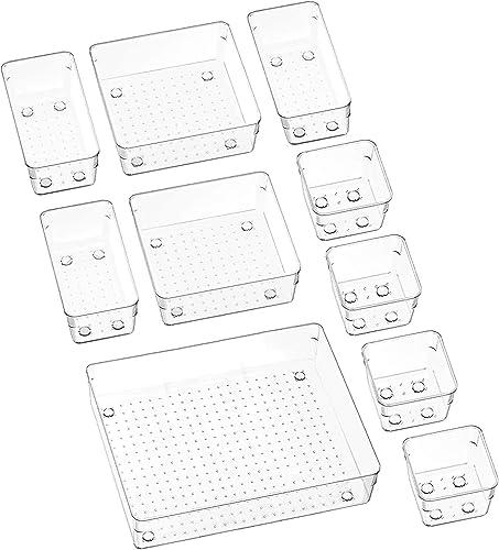 Puricon 10 Pcs Desk Drawer Organizers Trays Set Clear Plastic Storage Bins Bathroom Drawer Tray Dividers Vanity Trays...