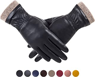 REDESS Winter Leather Gloves for Women, Wool Fleece Lined Warm Gloves, Touchscreen Texting Thick Thermal Snow Driving Gloves