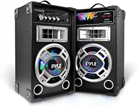 Pyle Portable PA Tower Speaker System - 800W High Powered Disco JAM Active + Passive Pair Indoor Outdoor Sound PA Speakers W/USB SD MP3 FM Radio Aux RCA Led DJ Lights - 35mm Stand Mount