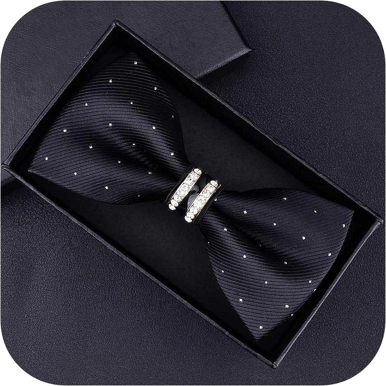 Tuxedo Metal Crystal Wedding Bow Tie Men Women Knot Cravat Black Purple Blue Jujube Red Groom Party Banquet Meet Club