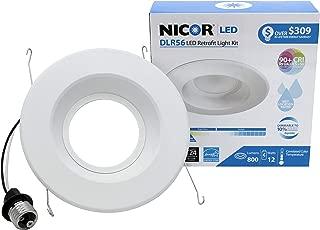 NICOR Lighting 5/6-Inch Dimmable 800-Lumen 4000K LED Downlight Retrofit Kit for Recessed Housings, White Trim (DLR56-3008-120-4K-WH)