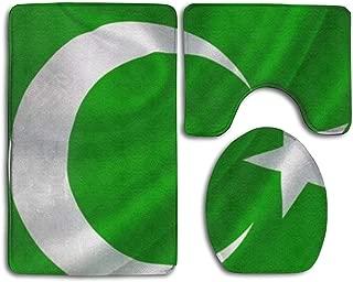 HSGDHUAY Pakistan Family Bath Mat Set,3 Piece Bathroom Mats Set Non-Slip Bathroom Rugs/Contour Mat/Toilet Cover by