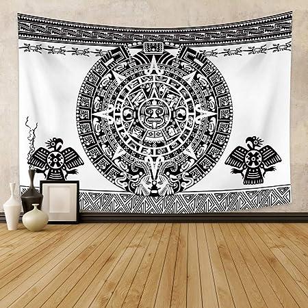 Tapiz para colgar en la pared 51x59 tapete de yoga toalla de playa retro de mandala bohemio dise/ño de mapa del mundo Amkun Luna y sol decoraci/ón para el hogar