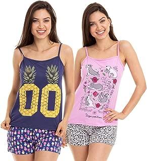 KIT 2 Pijamas Femininos Short Doll Alcinha Adulto Luna Cuore 5804.020008-020013