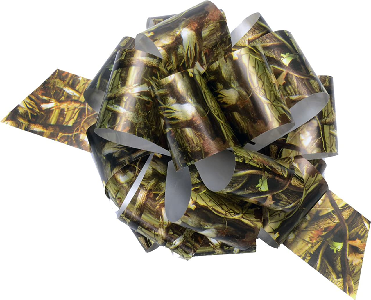 Military Hunting Camo Gift Wrapping Poly Ribbon Pull Bows (5