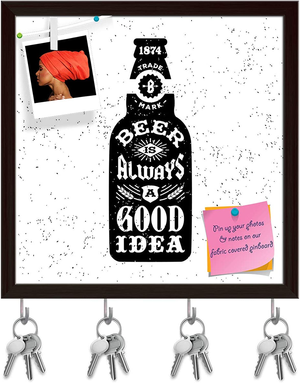 Artzfolio Beer is Always A Good Idea Key Holder Hooks   Notice Pin Board   Dark Brown Frame 20 X 20Inch