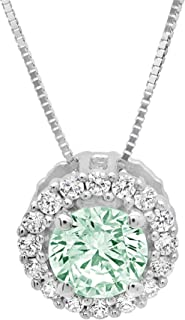 Hanssini Jewels 2.00 CT Round Cut Citrine CZ 14k White Gold Plated Halo Pendant Necklace 18 Chain