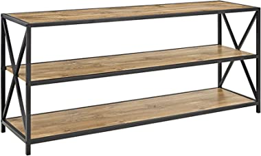 Walker Edison Furniture Company 2 Shelf Industrial Wood Metal Bookcase Tall Bookshelf Storage Home Office, 60 Inch, Barnwood