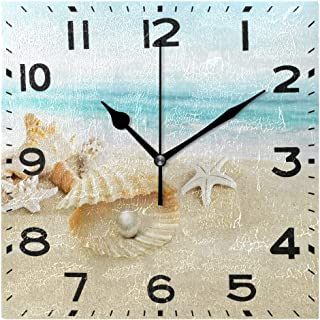 Naanle 3D Beautiful Beach Starfish Seashell with Big Pearl Print Square Wall Clock, 8 Inch Battery Operated Quartz Analog Quiet Desk Clock for Home,Office,School