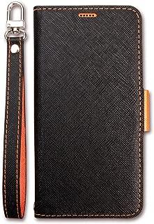 Huawei P20 Lite ケース 手帳型 ストラップ 付き マグネット 式 ベルト スタンド 機能 薄型 スリム 手帳 レザー カバー カード 収納 付 Corallo NU [ P20Lite フアウェイ ファーウェイ P20 ライト ] ブラック×オレンジ
