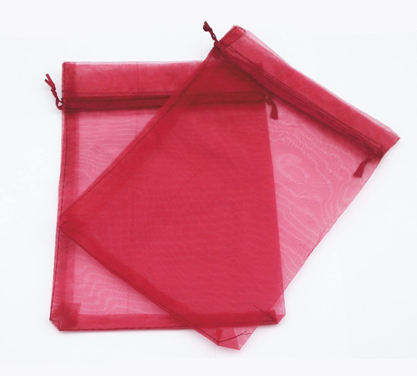 AEAOA 50 Pcs 6x8 Inch Organza Bags Drawstring Wedding Favor Bags Organza Gift Pouches Bags for Wedding Jewelry Party (Burgundy/Dark Red)