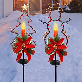 MAGGIFT 32 Inches Solar Christmas Decorations Outdoor LED Solar Powered Candle Xmas Pathway Lights, Metal Snowman & Tree G...