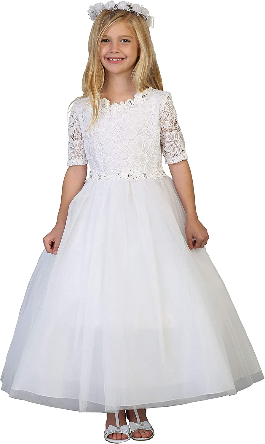 Girls' White First Communion Lace Tulle Half Sleeves Flower Girl Pageant Dress USA 2-24