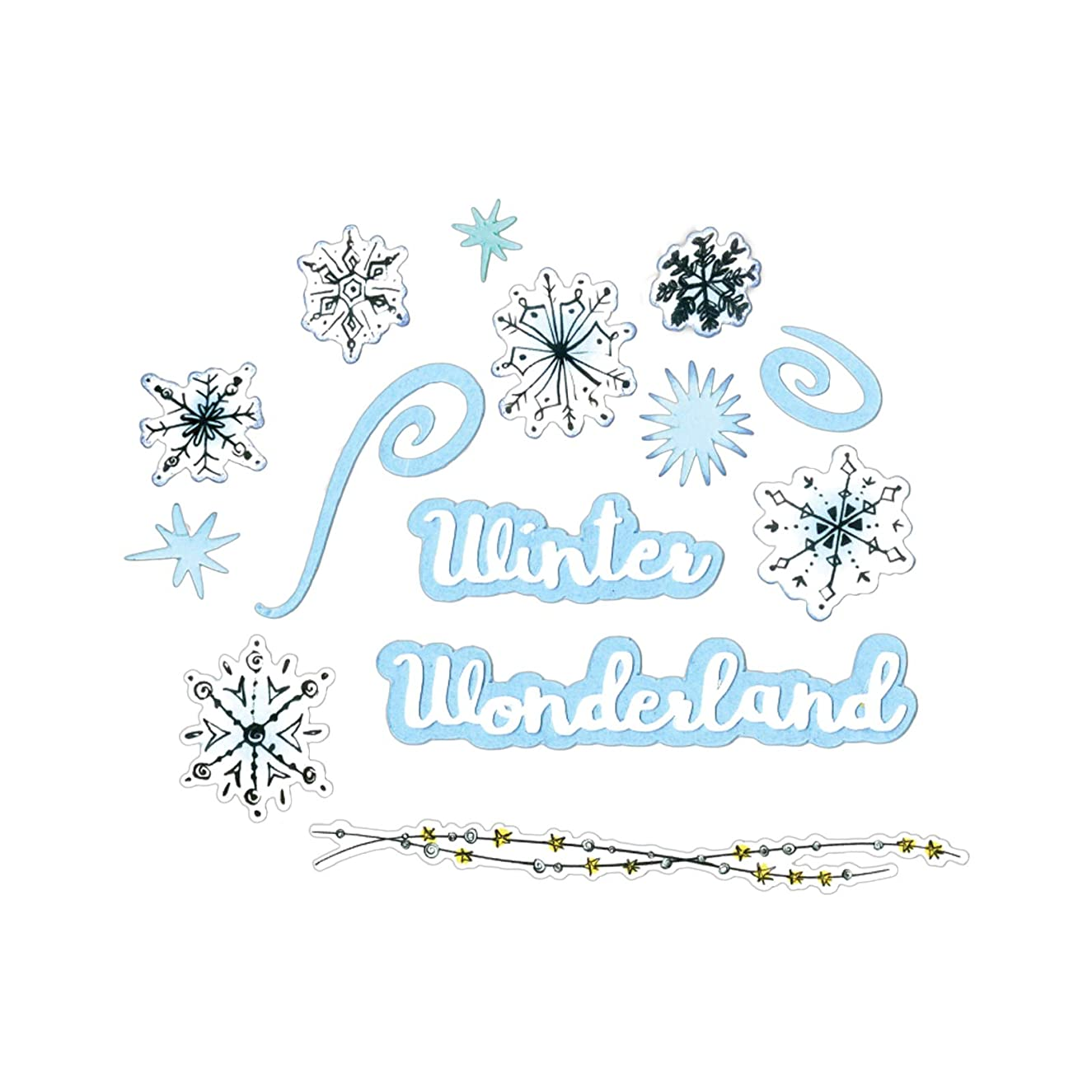 Sizzix 662895 Framelits Die Set with Stamps, Snowflake Doodles by Courtney Chilson (17-Pack), Blue